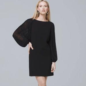 WHBM Chiffon Sleeve Black Shift Dress